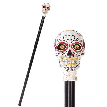 White Colorful Day Of The Dead Skull Prop Accessory Walking Cane For Parties](Skull Cane)