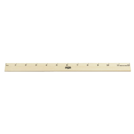 School Smart Single Beveled Plain Edge Wood Scale Ruler, 12 in L X 7/8 in W X 5/32 in Thickness, 1 in Scaled, Clear Lacquer Double Beveled Edge Ruler