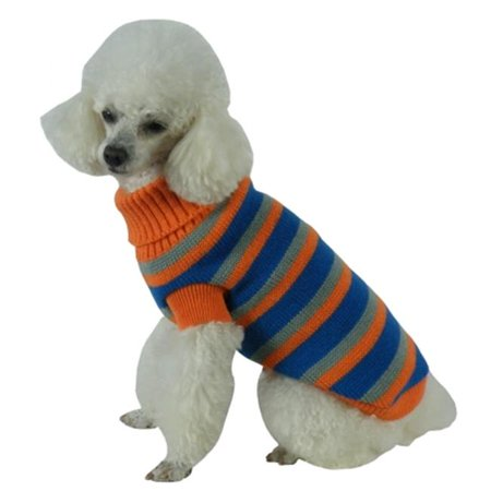 Heavy Cable Knit Striped Fashion Polo Dog Sweater, Large - image 1 of 1