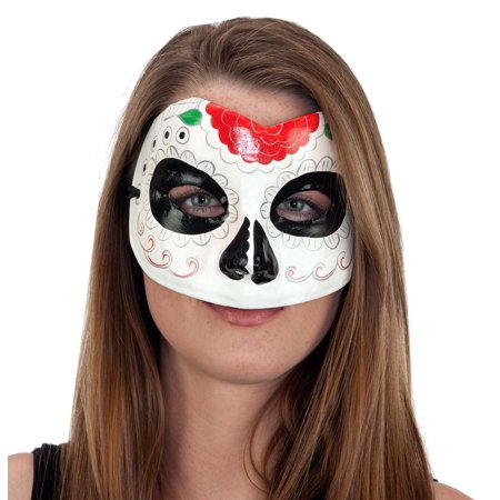 Ladies Day of Dead Mask Red Green Trim Venetian Sugar Skull Dia De Los (Women's Dia De Los Muertos Mask)