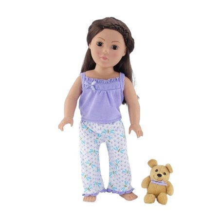 18 Inch Doll Clothes |Adorable Lavender and Blue Dragonfly Print 2 Piece Tank Pajama Outfit with Teddy Bear | Fits American Girl - Bear Outfit