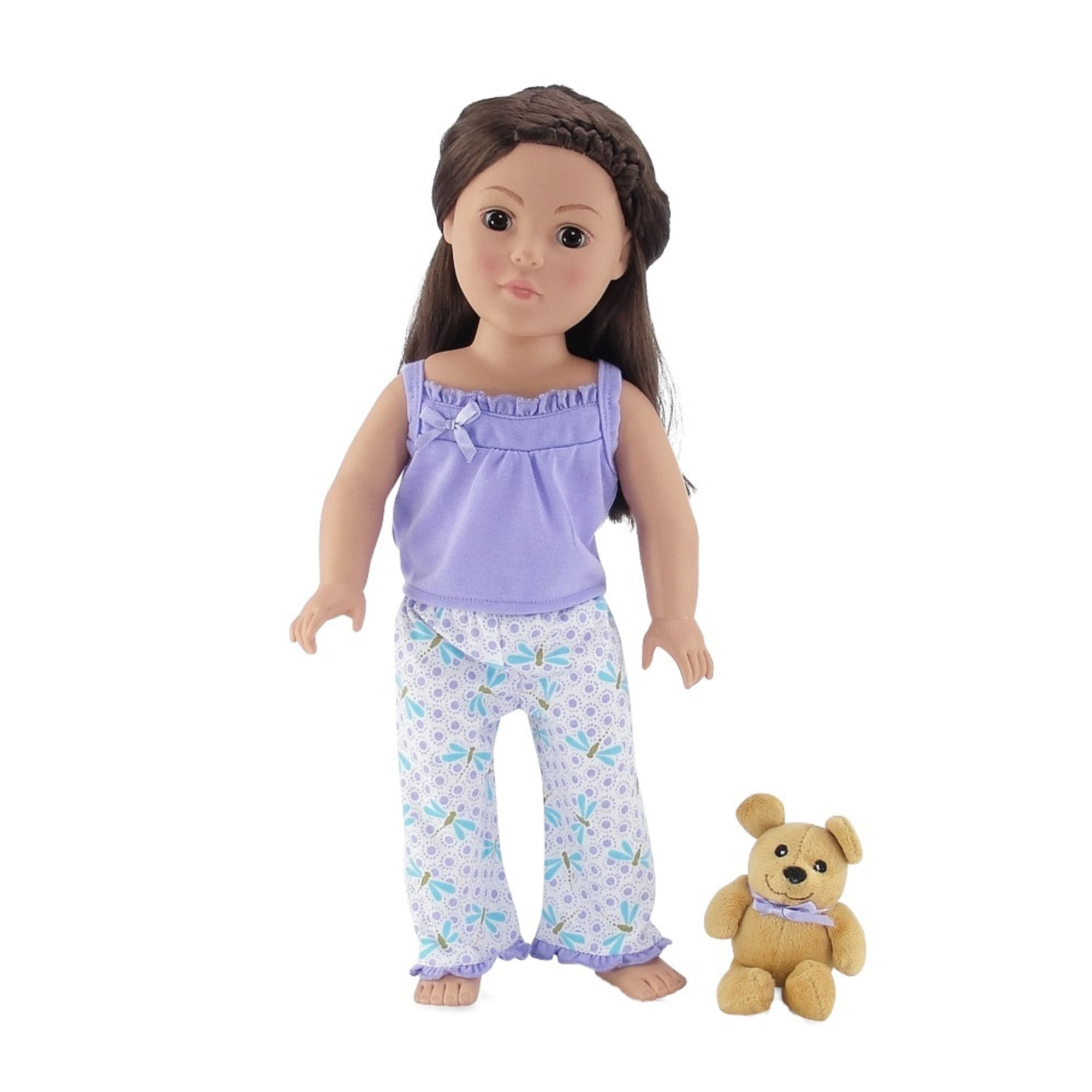 18 Inch Doll Clothes |Adorable Lavender and Blue Dragonfly Print 2 Piece Tank Pajama Outfit with Teddy Bear | Fits American Girl Dolls