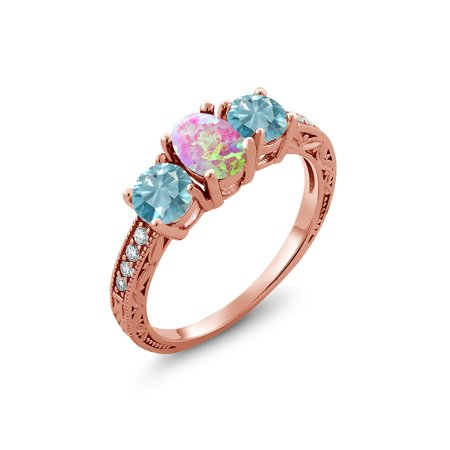 Pink Zircon Ring - 2.45 Ct Oval Cabochon Pink Simulated Opal Blue Zircon 18K Rose Gold Plated Silver Ring