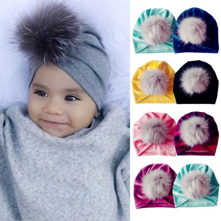 Black Top Hat For Baby (Newborn Baby Hat Kids Cap Cotton Winter Soft Turban Bunny Head Wrap)