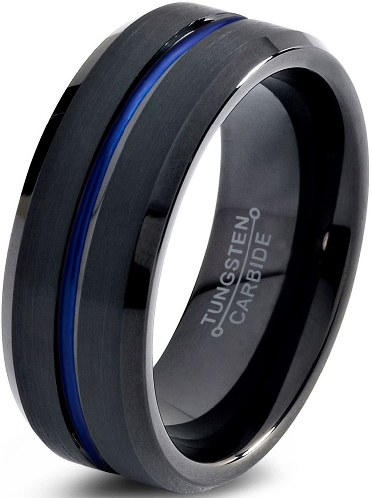 Tungsten Wedding Band Ring 8mm for Men Women Black Blue Center Line Beveled Edge Brushed Lifetime Guarantee