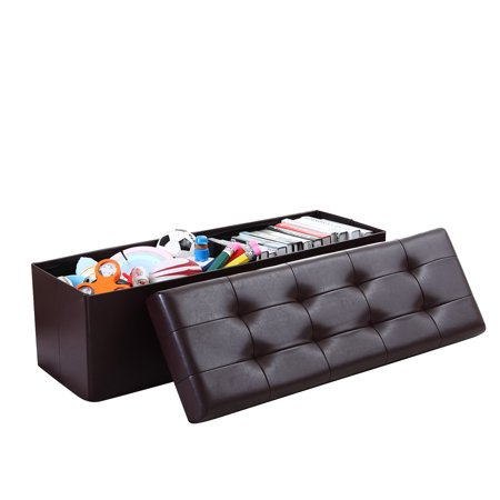 Foldable Furniture Box Storage Tufted Leather Ottoman Foot Rest (3 sizes) ()
