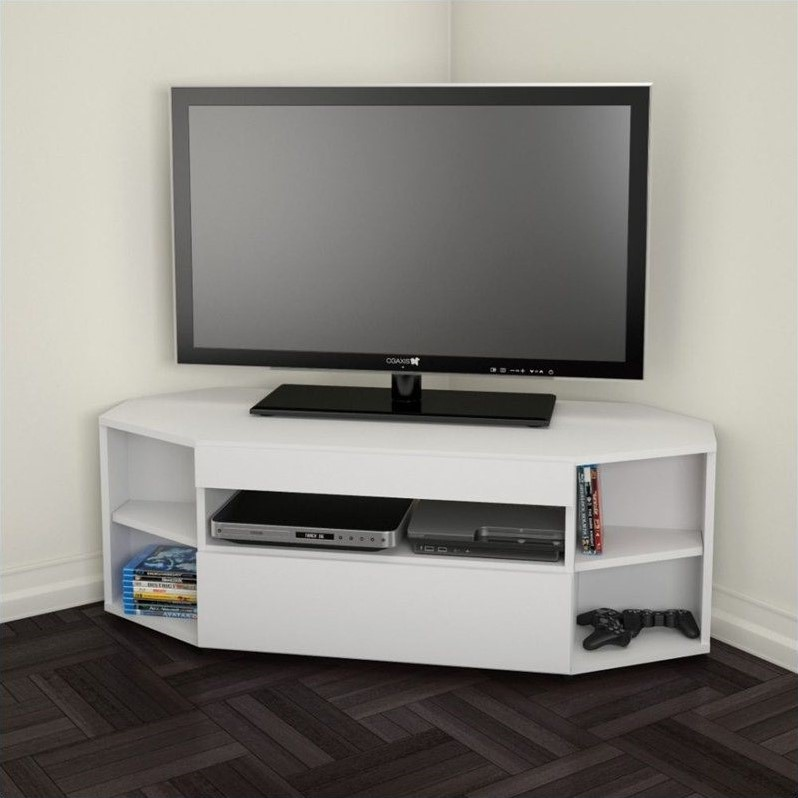Nexera BLVD Corner TV Stand, White