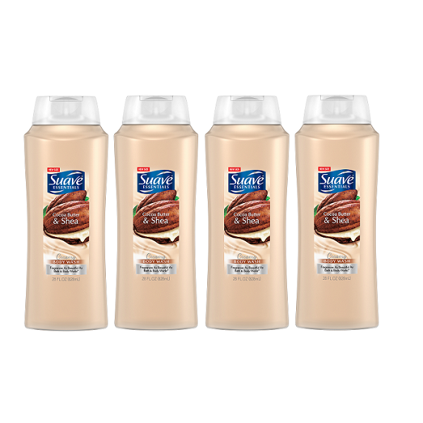 (4 Pack) Suave Essentials Creamy Cocoa Butter and Shea Body Wash, 28 oz