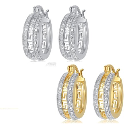 Two Colour Diamond Set (Luxurious 0.02 Cttw Natural Diamond Accent Greek Key Hoop Earrings In Two Color Sets Crafted In 14k Gold)