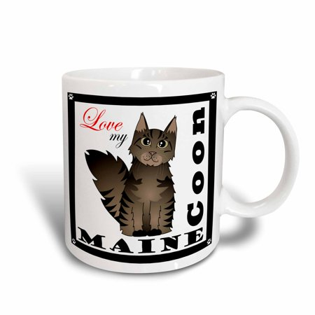 - 3dRose Love My Maine Coon Cat - Brown Tabby, Ceramic Mug, 11-ounce