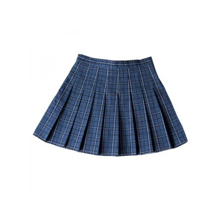 Nicesee Women High Waist Pleated Stitching Plaid Wild College Wind Skirt - Windy Skirts