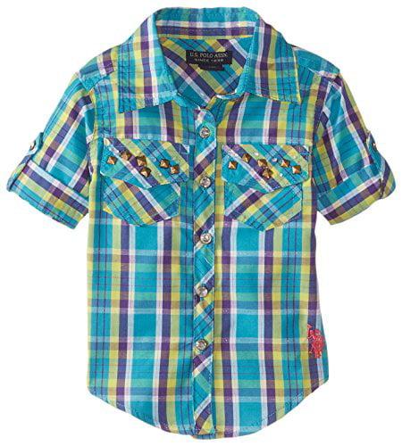 U.S. Polo Assn. Baby Girls' Plaid Rhinestone Studded Shirt with Roll Cuff Sleeve, Turkish, 18 Months