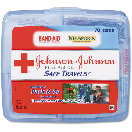 Johnson & Johnson Red Cross - Portable Travel First Aid Kit, 70 Pieces, Plastic Case