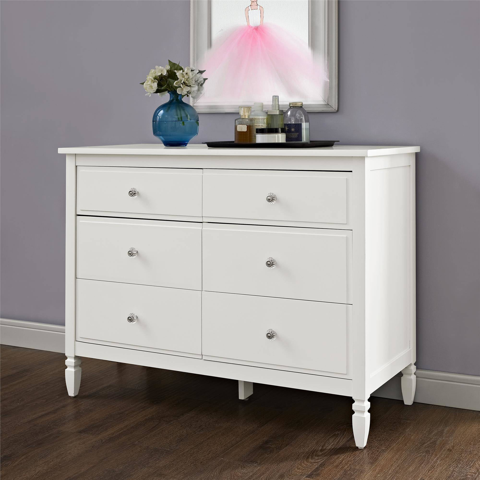 Better Homes And Gardens Lillian 6 Drawer Dresser White Walmart Com