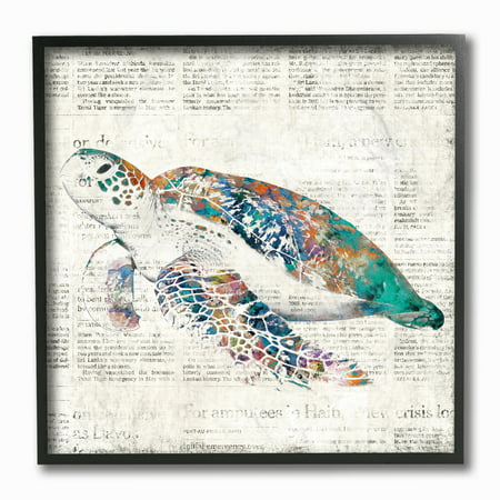 The Stupell Home Decor Collection Multi Colored Sea Turtle on Aged Newspaper Framed Giclee Texturized Art, 12 x 1.5 x 12