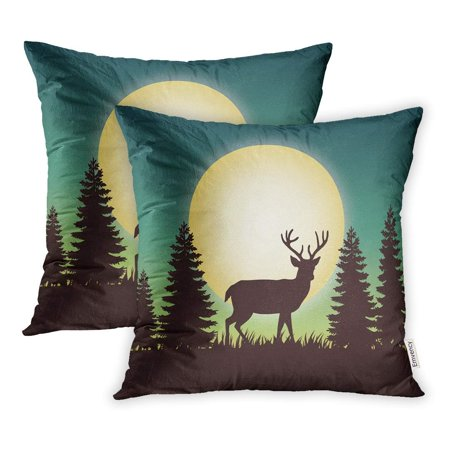 BSDHOME Blue Pine Deer Forest Landscape Scenic Natural Scenery Flat Stock Scene Pillowcase Cushion Cover 16x16 inch, Set of 2 - image 1 of 1