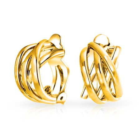 Bling Jewelry Gold Plated Criss Cross Modern Half Hoop Clip On Earrings