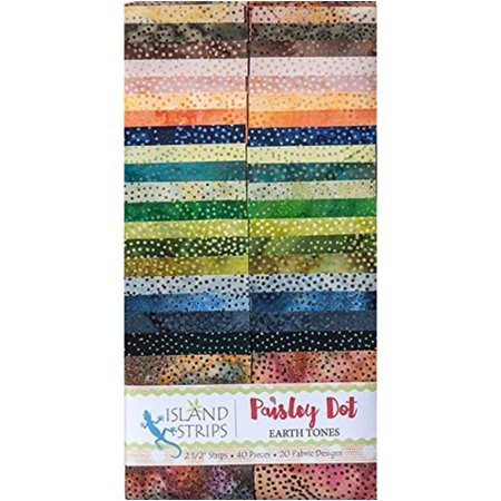 Kathy Engle Paisley Dots Earth Tones Strips 40 2.5-inch Strips Jelly Roll, 2.5 inch by 44 inch fabric strips. By Island Batik