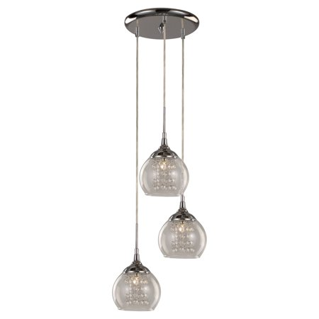 Trans Globe Lighting MDN-1218 Glass and Crystal 3-Light Drop Pendant