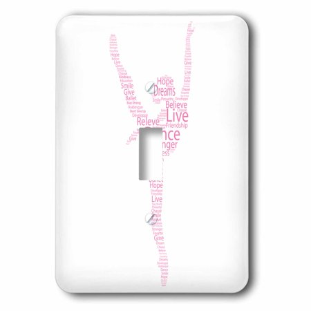 3dRose Pink silhouette of a ballerina dancing - Single Toggle - Ballerina Single