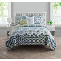 VCNY Home Vandeliss Geometric Medallion Printed 4/5 Piece Reversible Bedding Quilt Set, Shams and Decorative Pillows Included