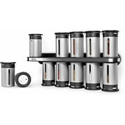 Zevro by Honey Can Do Wall-Mounted Magnetic Spice Rack with 12 Canisters, Silver