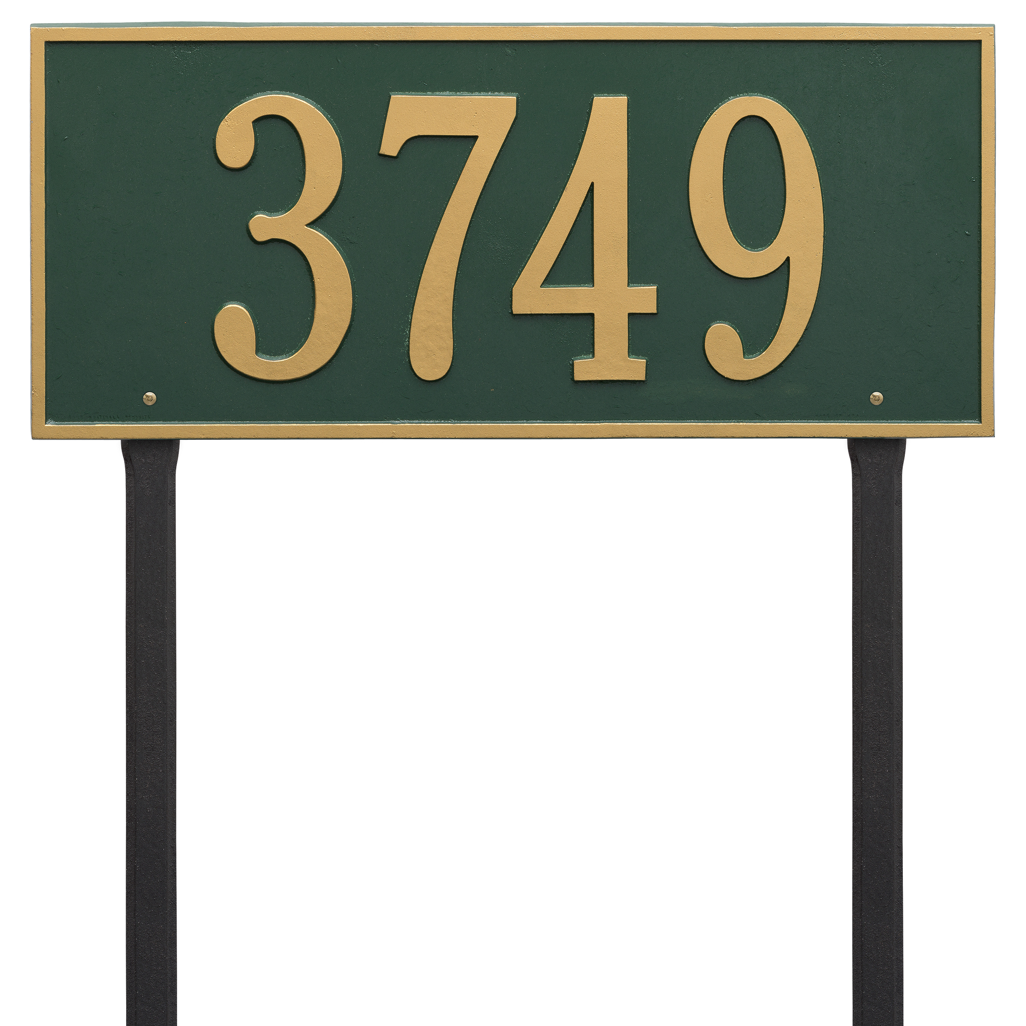 Personalized Whitehall Products Hartford Estate Lawn Address Plaque in Green Gold by Whitehall