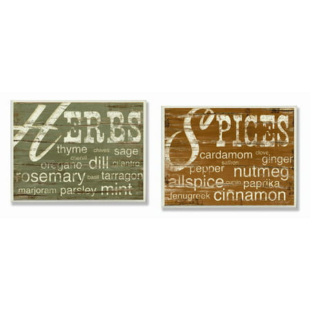 Stupell Industries Herbs and Spices 2 Piece Textual Art Wall Plaque Set