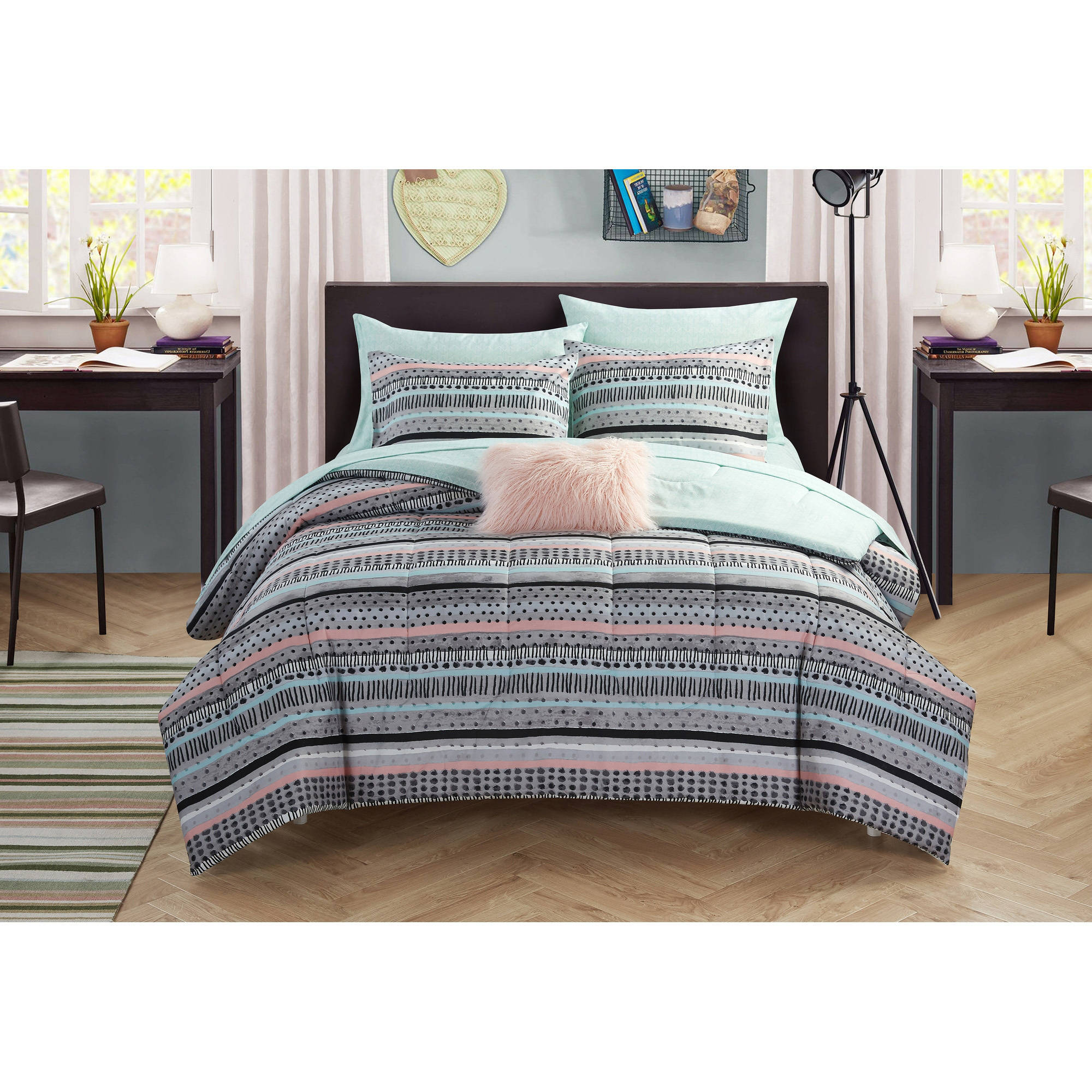 your zone mida stripe bed in a bag bedding set
