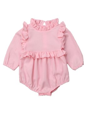 5bf97278e0e4 Product Image Infant Baby Girls Princess Long Sleeve Frilled Romper  Jumpsuit Outfits (Pink). Gaono