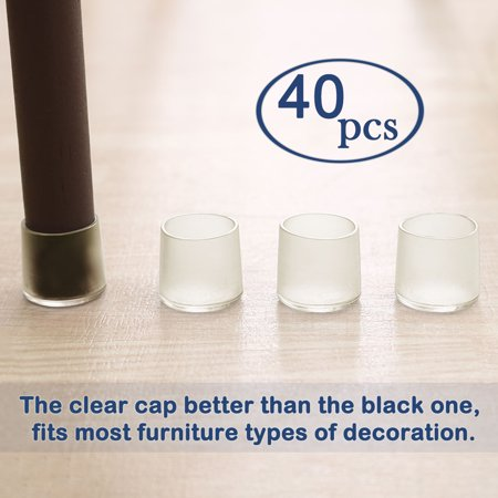 """Clear Chair Leg Caps Cover Furniture Floor Protector 40pcs 1.38"""" 35mm Inner Dia - image 6 of 7"""