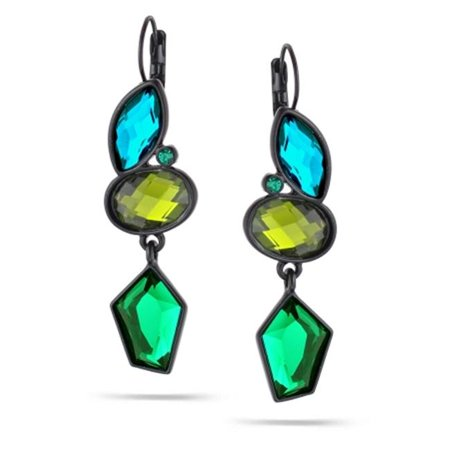 Eshopo 0900000019821 Black  Tone Metal Green Olive And Aqua Blue Faceted French Clip Earrings