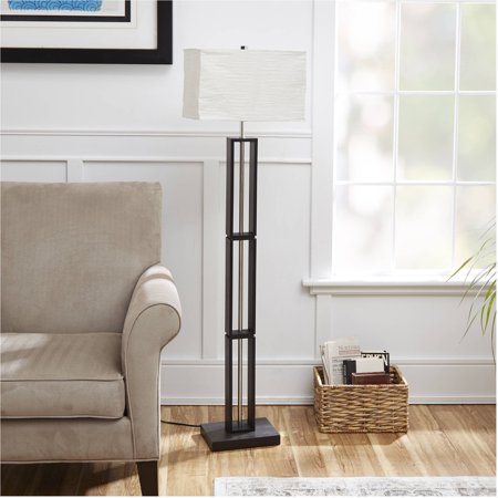 On A Wood Floor Lamp - Mainstays Dark Wood Floor Lamp with Rice Paper Shade
