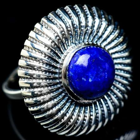 Large Lapis Lazuli Ring Size 8 (925 Sterling Silver)  - Handmade Boho Vintage Jewelry RING5913