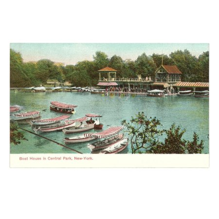 Boat House, Central Park, New York City Print Wall Art