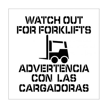 National Marker Corp. PMS231BI Watch Out For Forklifts Bilingual Plant Marking Stencil