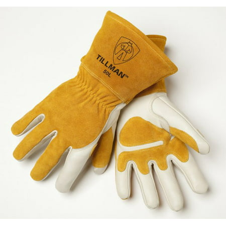 - Tillman Medium 14'' Pearl Top Grain Side Split Cowhide Fleece Lined Premium Grade MIG Welders Gloves With Gauntlet Cuff, Seamless Index Finger And Elastic Back (Carded)