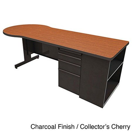 Zapf Computer Desk with Bookcase Finish: Dark Neutral, Laminate Color: Solar Oak, Size: 29
