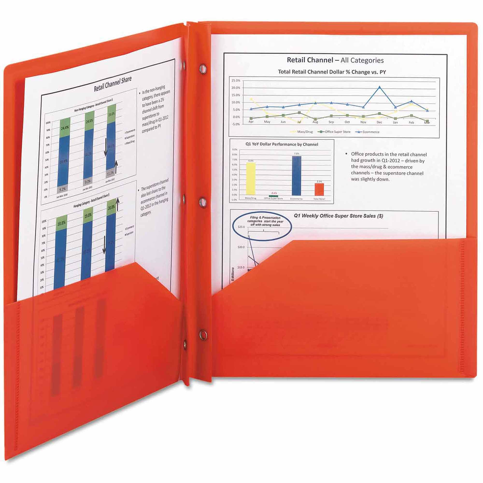 Smead Poly Two-Pocket Folder With Fasteners, 8-1/2 x 11, Red, 25/Box