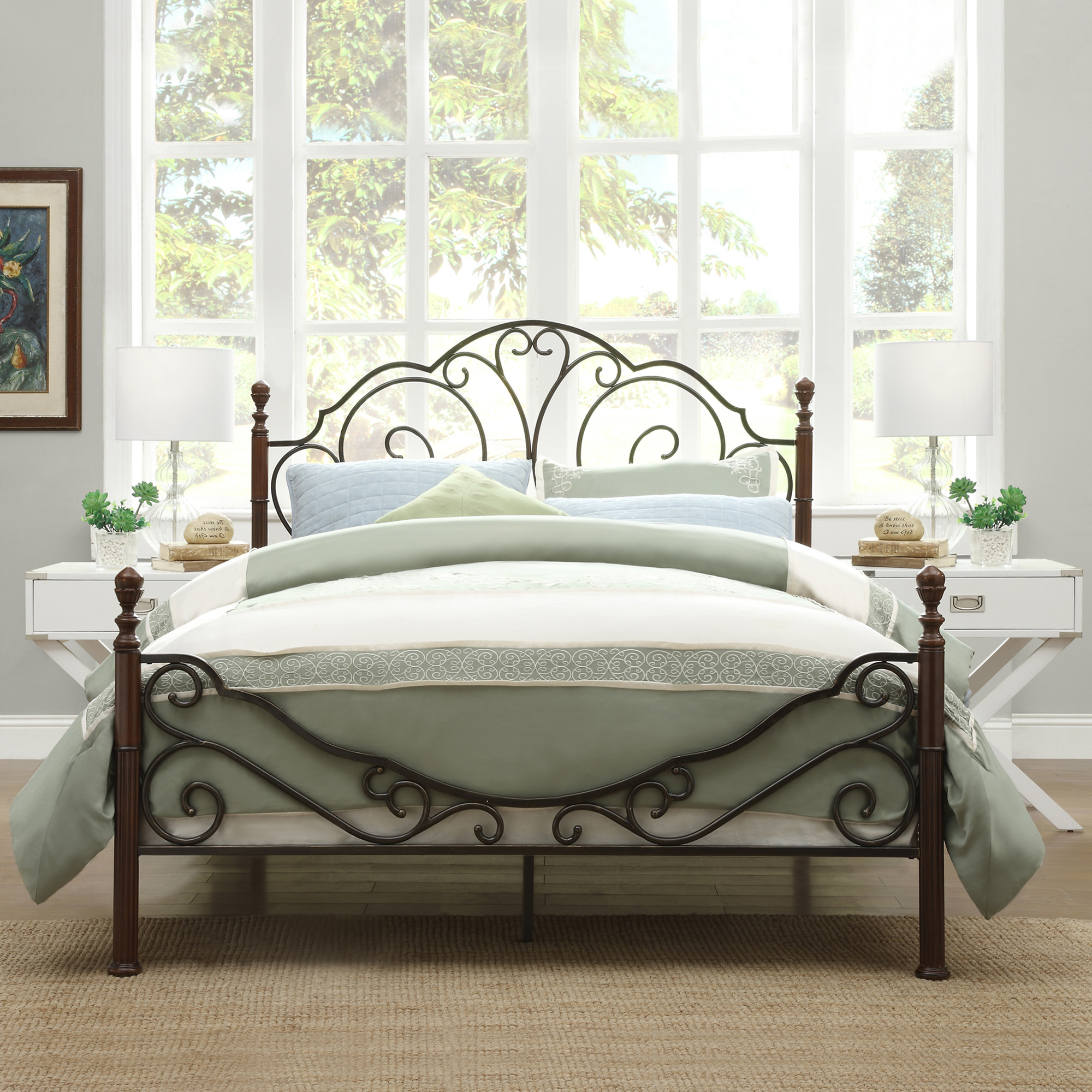 Weston Home Adison Graceful Scrolls Poster Metal Bed, Multiple Sizes