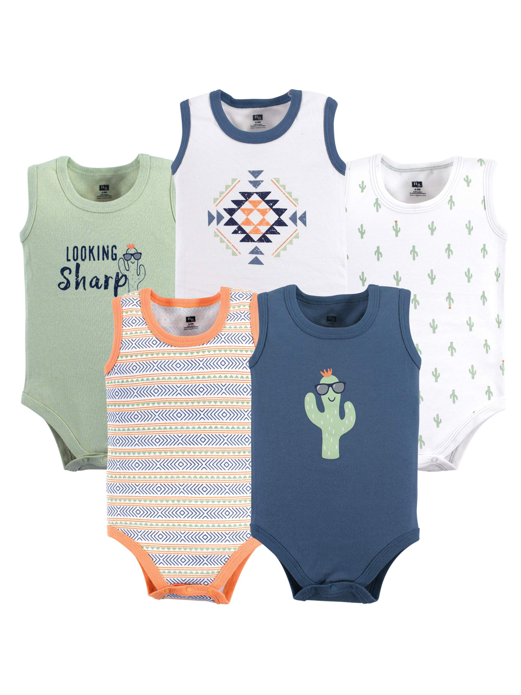 5-Pack Hudson Baby Boy Sleeveless Bodysuits Whale