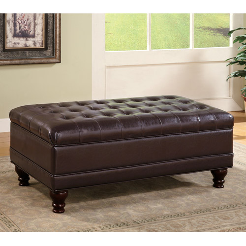 Coaster Company Tufted Storage Ottoman, Dark Brown Leatherette
