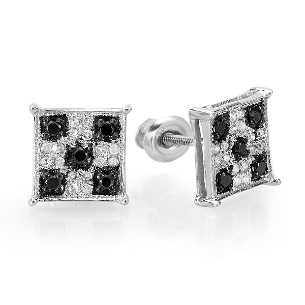 0.25 Carat (ctw) Black & White Round Cut Diamond Square Shaped Micro Pave Stud Earrings 1/4 CT