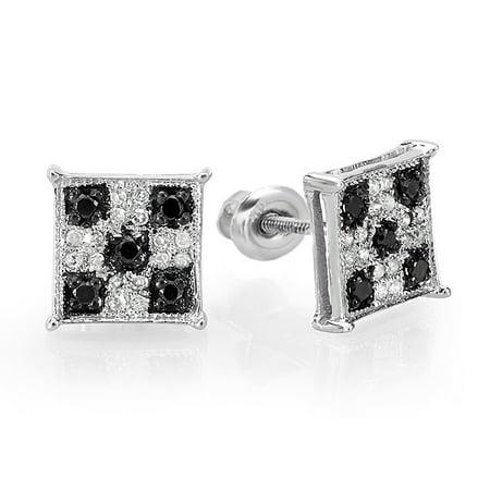 0.25 Carat (ctw) Black & White Round Cut Diamond Square Shaped Micro Pave Stud Earrings 1/4 CT Diamond Micro Pave Square