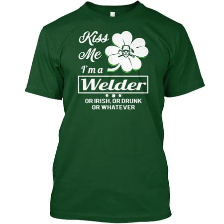 Kiss Me, I'm A Welder Or Irish Hanes Tagless Tee T-Shirt