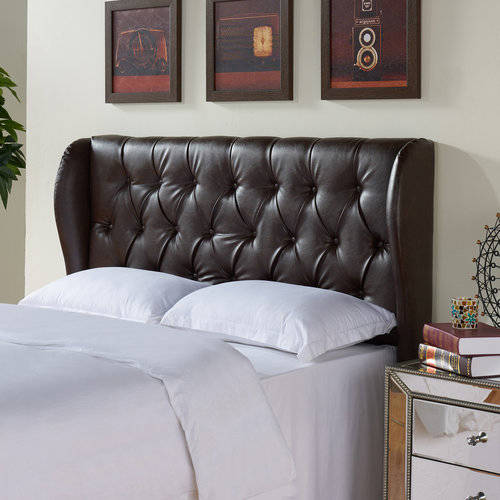 better homes and gardens scalloped wingback tufted upholstered headboard kingcal king brown bonded leather