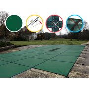 WaterWarden Solid Safety Pool Cover for In Ground Pools, with Center Drain Panel, Center End Step