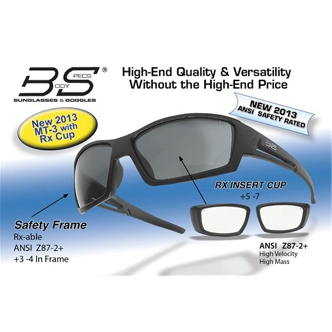 Body Specs MT-3 BLK FRAME/RX-CUP Matt Black Safety Frame Sunglasses with Rx Cup