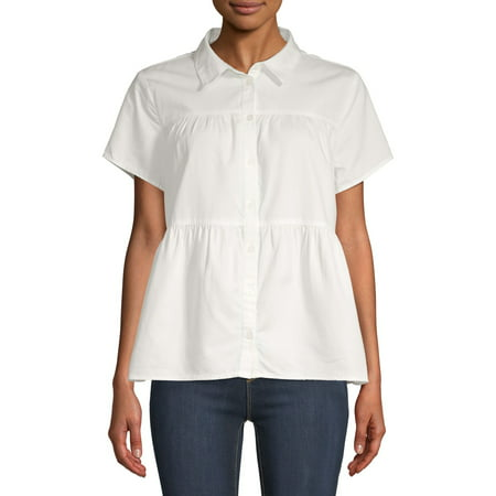 Time and Tru Womens Tiered Button Front Top