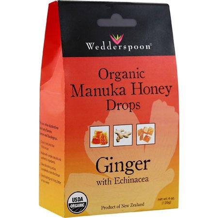 Wedderspoon Organic Manuka Honey Drops Ginger with Echinacea -- 4 oz pack of 1